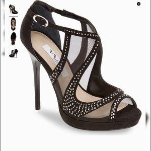 Nina Black Suede & Mesh Heels sz11